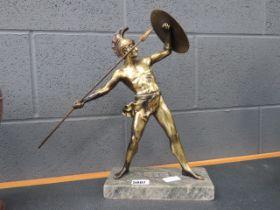 Brass finished figure of Greek warrior