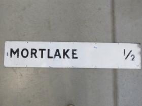 Painted metal Mortlake distance sign
