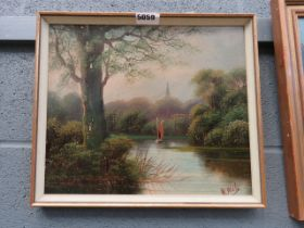 Early 20th century oil on board, sailing boat on river, church spire in background