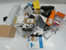 Bag containing quantity of mobile phone accessories; cables, leads, adapters