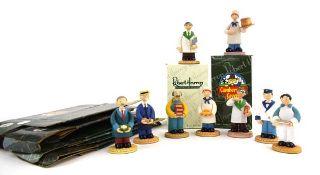 Eight Robert Harrop Camberwick Green figures: CG101 Mickey Murphy (Baker), CGFG11 Mr Cresswell