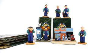 Seven Robert Harrop Camberwick Green figures: CG31 Mr Crockett, CGM11 Mr Crockett's Garage, CG81