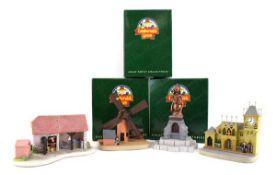 Four Robert Harrop Camberwick Green figures: CGM01 Trumpton Town Hall, CGM03 Colley's Mill, CGB03