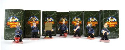 Seven Robert Harrop Camberwick Green figures: CG104 Captain Flack, CG96 Pugh Apples Galore, CGFG06