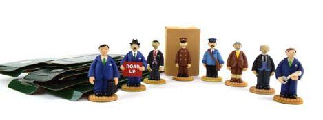 Eight Robert Harrop Camberwick Green figures: CG26 Lord Belborough, CG35 Mr Craddock (Park