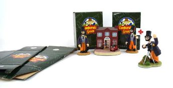 Four Robert Harrop Camberwick Green figures: CG93 Dr Mopp Thrushes in the Tree, CG84 Dr Mopp Bees by