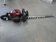 Red petrol powered hedge cutter