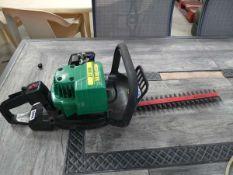 Green petrol powered hedge cutter