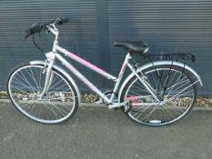 Elite silver and pink ladies bike