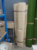 3 rolls of approx. 10m x 2m of beige industrial style carpet