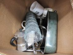 Box mixed used kitchen ware, glassware, pots, pans, mugs, etc