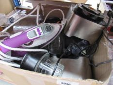 Box containing assorted kitchenware including Kenwood food processors, an iron, etc