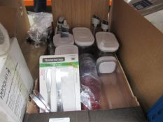 Tray containing chopping board, food storage containers, drink ware, etc