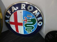 An Alfa Romeo back-lit illuminated moulded car sign, di. 81 cm