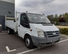 NG58 VOA (2009) Ford Transit 100 T350 dropside truck in white with a taillift and towbar, first