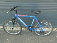 Blue and red Ammaco mountain bike