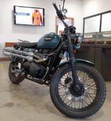 (2006) Triumph Bonneville Scrambler in green and black, 865cc, first registered in 22/12/2006,