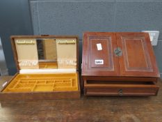 Modern stationery box and a leather clad jewellery box
