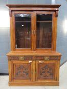 Edwardian glazed bookcase with cupboard base under