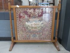 Oak firescreen with embroidered insert
