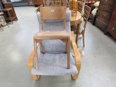 Bentwood school chair, plus Ikea armchair with grey fabric cushion