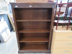 Oak open fronted bookcase