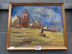 Oil on board: coastal buildings with beached fishing boats