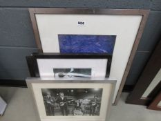 Beatles photographic print, 2 x Banksy prints, and photgraphic print of breaking wave