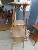 2 bamboo and wicker side tables