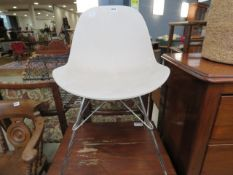 Molded plastic and chrome dining chair