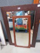 Mirror in teak frame, plus rectangular mirror in stained pine frame