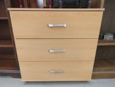 5078 Pine finished chest of 3 drawers