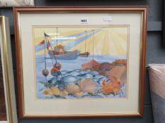 Watercolour: boats at sea