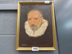 Oil on canvas: study of a man in a ruff