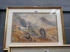 Framed and glazed watercolour: mountain landscape