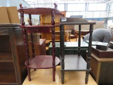 Reproduction 2 tier telephone table, plus 3 tier stand with drawer Telephone stand: H = 65cm. W =
