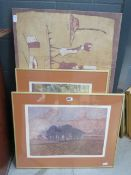 5282 2 Limited Edition prints entitled 'February' and 'Path Around a Field', plus an African batik