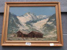 Oil on board: alpine scene with shepherd