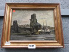 Oil on board: harbour scene with boats and buildings