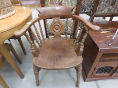 Oak bow back armchair Arm loose, neds re-gluing