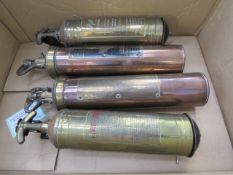 4 vintage brass and copper fire extinguishers