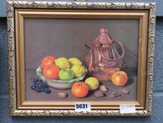 Print: still life with fruit and copper kettle