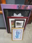 Quantity of modern botanical wall hangings, photogaphic prints, still life with flowers, and