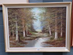 Modern oil on canvas: pond and woodland