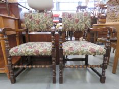 Pair of floral upholstered bobbin turned oak armchairs Frames solid, upholstery good