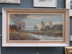 Modern oil on canvas: Canal with Woodland