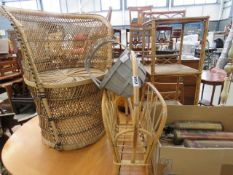 Wicker chair, bent cane magazine rack, wooden basket, and bamboo/wicker 3 tier stand Wicker frayed