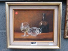 Oil on canvas: still life with brandy glasses