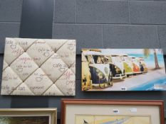 Modern wall hanging with VW camper vans, plus fabric cafe noticeboard