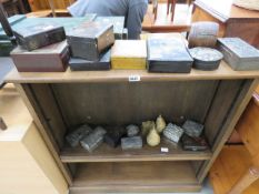 Large collection of ebonised and metal trinket and jewellery boxes